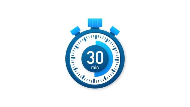 A 30 perc, stopperóra ikon. Stopwatch ikon lapos stílusban. Mozgókép.