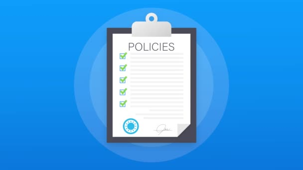 Policies in flat style. Checklist icon. Corporate document. Corporate document. Motion graphics