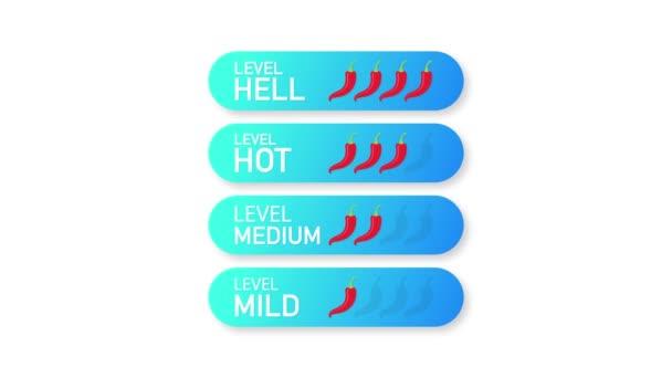 Horká červená paprika indikátor pevnosti stupnice s mírnou, střední, teplé a peklo pozice. Pohybová grafika.