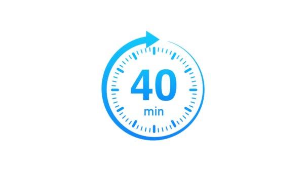 A 40 perc, stopperóra ikon. Stopwatch ikon lapos stílusban. Mozgókép