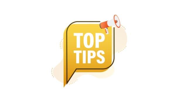Megafon-Banner mit Text Top tips. Bewegungsgrafik