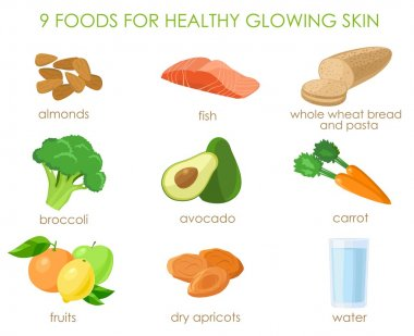 Nine foods for healthy skin. Vector