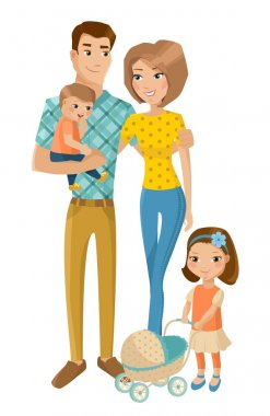 Happy family with children isolated on white. Vector