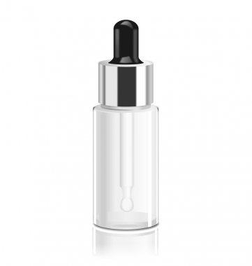 Transparent glass bottle with dropper. Vector