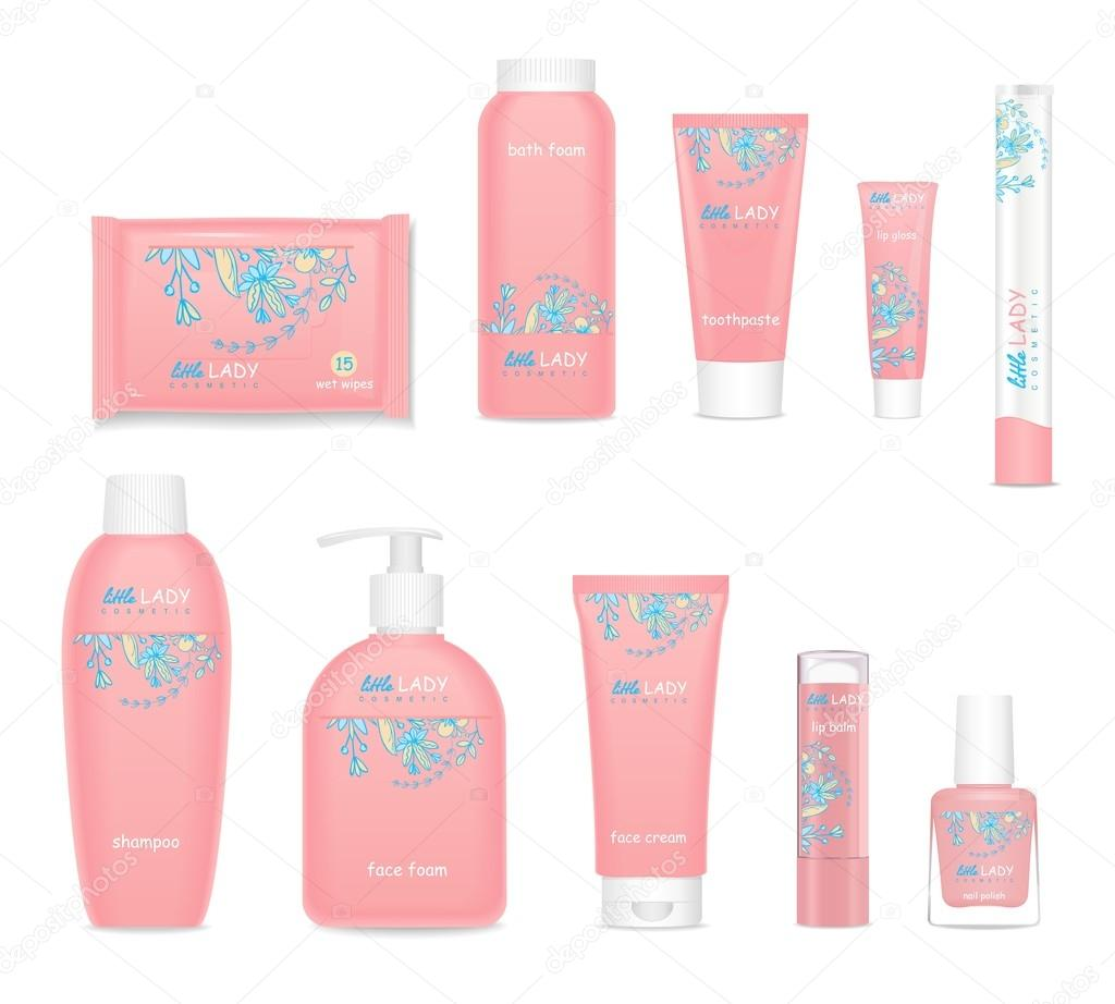 Kids cosmetic tubes with flower design. Vector — Stock Vector ...
