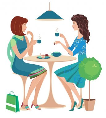 Fashion girls chatting at  cafe.