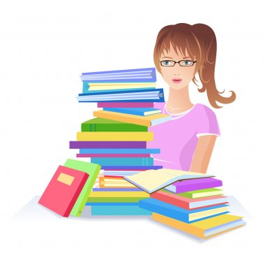 Woman with many books