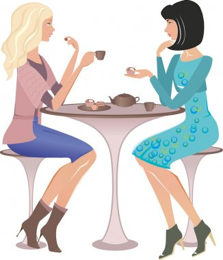 Two fashion girls at a cafe