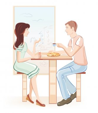 Man and woman at a cafe