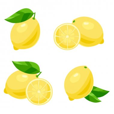 Set of of lemon with leaves. Isolated on white stock vector