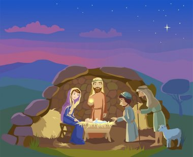 Nativity scene. Christmas illustration