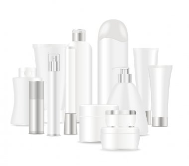 Group of white cosmetic tubes.