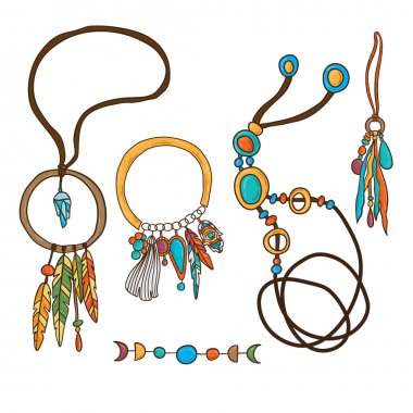 Set of the bohemian style hippie jewelry
