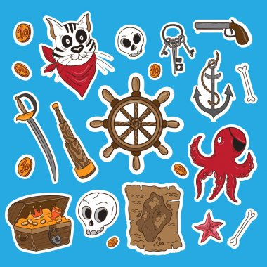 Pirates themed freehand sticker set.