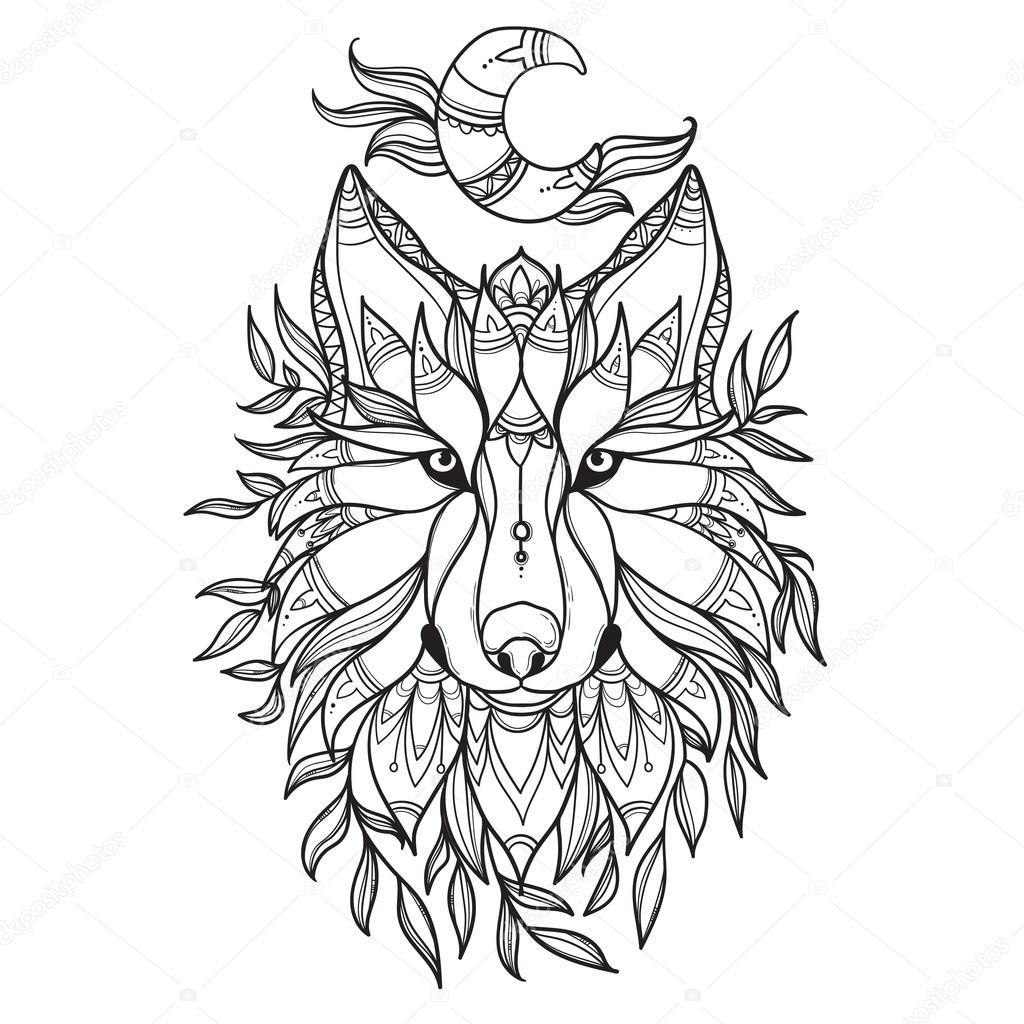 Imágenes Lobo Tribal Lobo En Estilo Tribal Con Luna Vector De