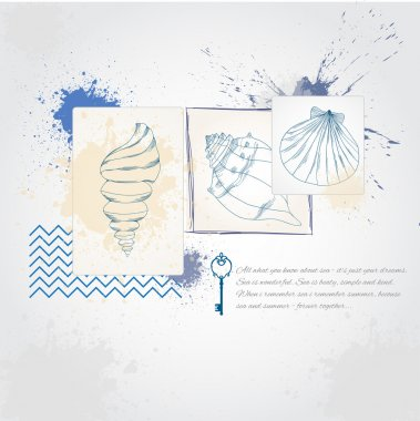 Illustration with sea accessories