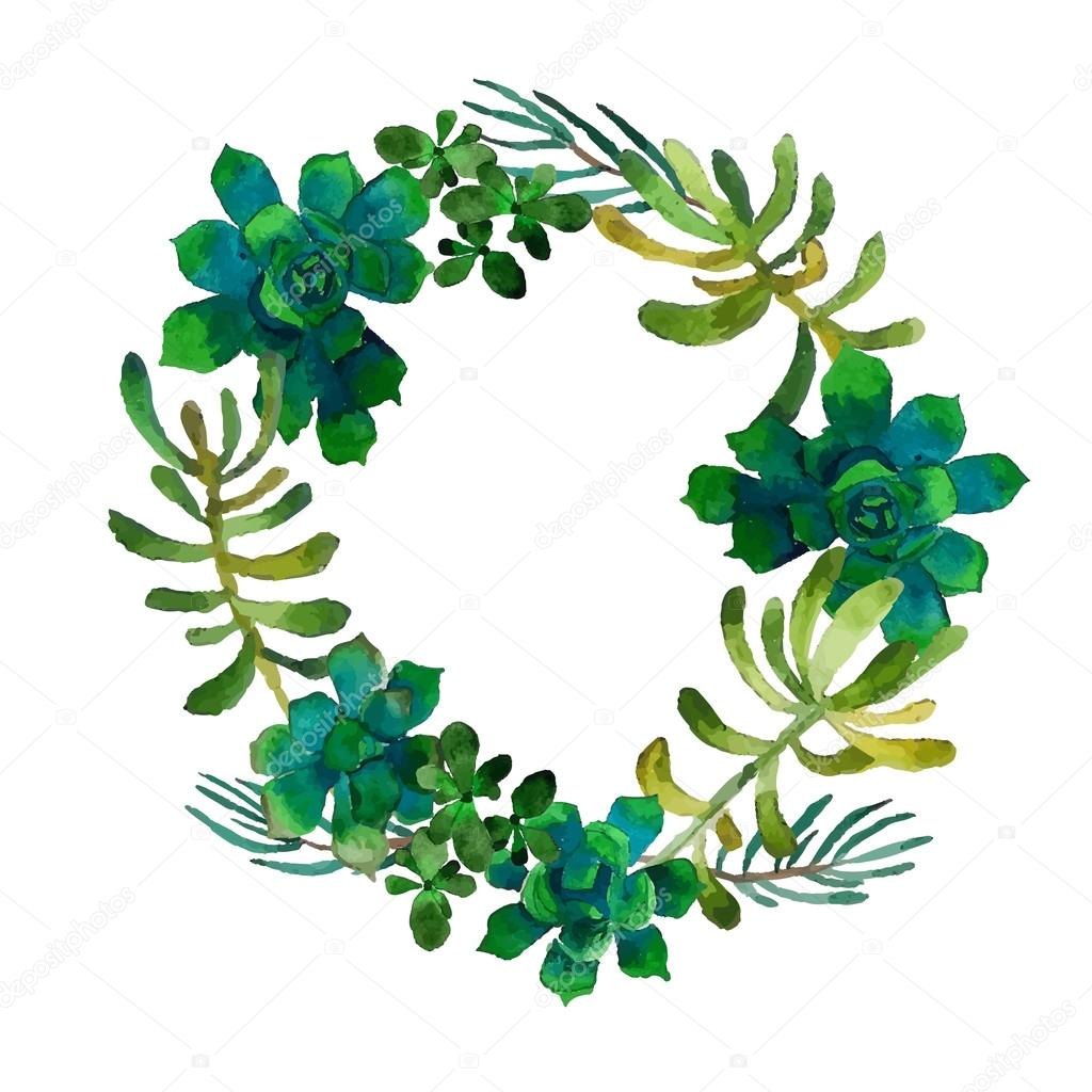 Watercolor Wreath With Succulents Vector Image By C Maria Letta Vector Stock 82697882