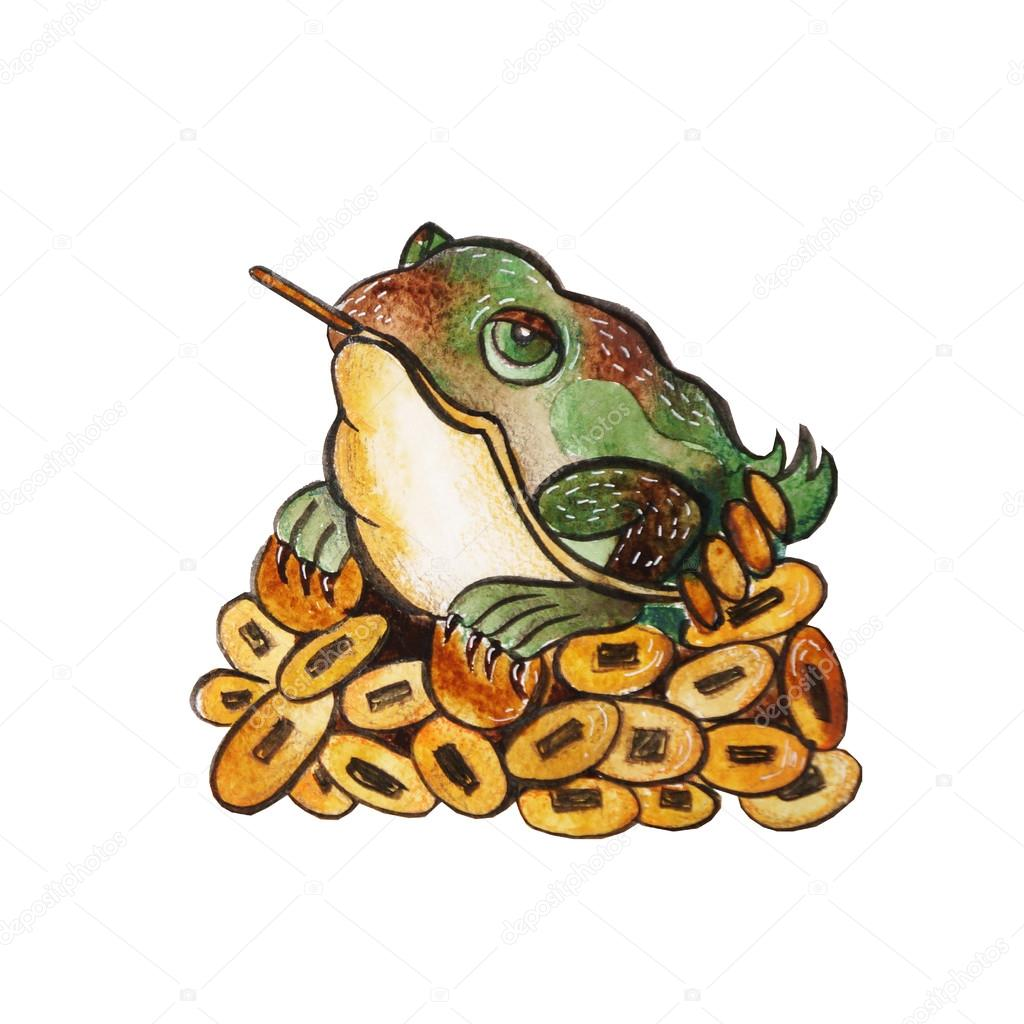 Watercolor Frog On Coins Stock Photo Marialetta 96336928