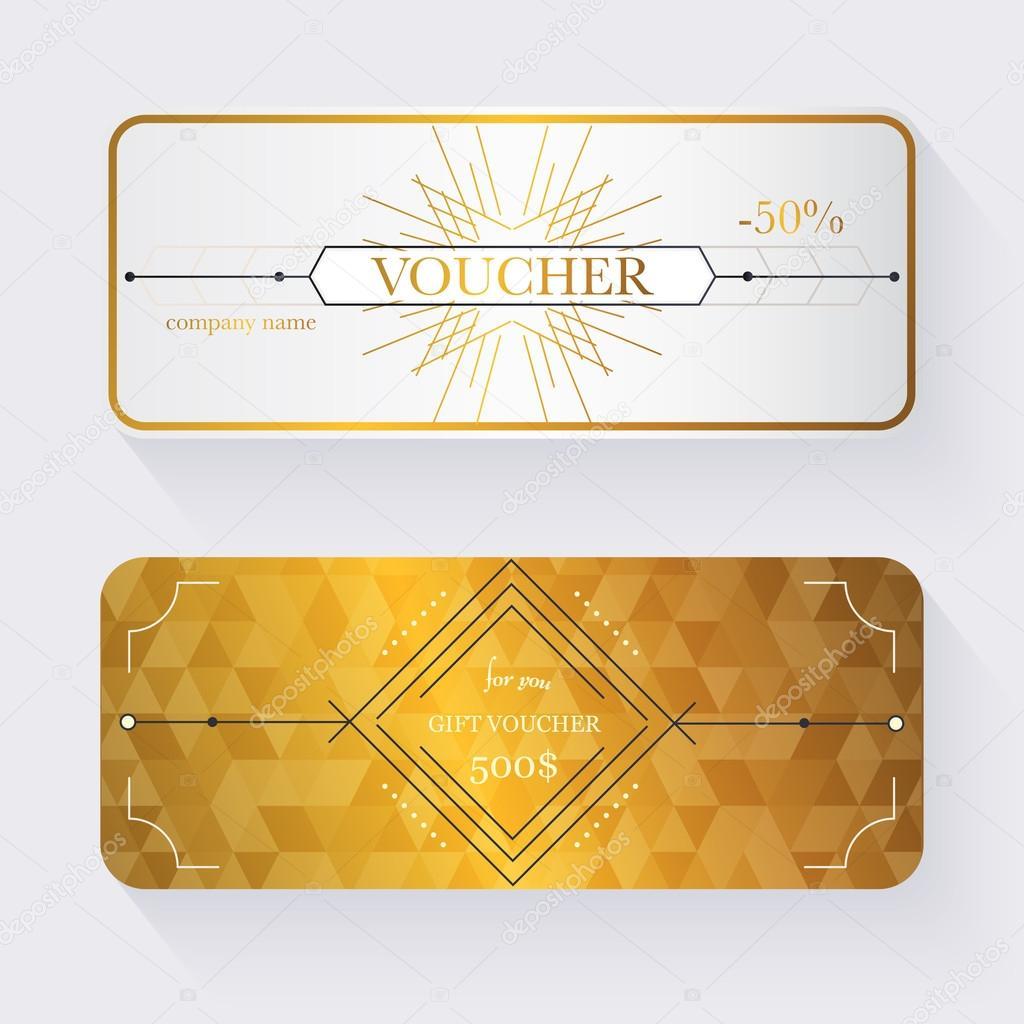 Geschenk-Gutschein-Vorlage mit gold Muster — Stockvektor ...