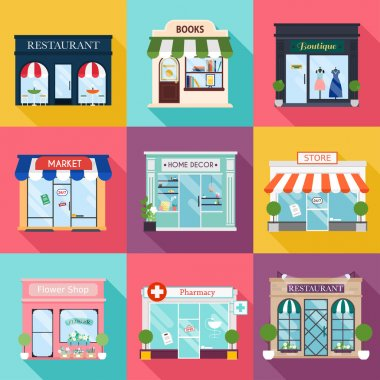 Cool set of vector detailed flat design restaurants and shops facade icons. Facade icons. Ideal for business web publications and graphic design. Flat style vector illustration. stock vector