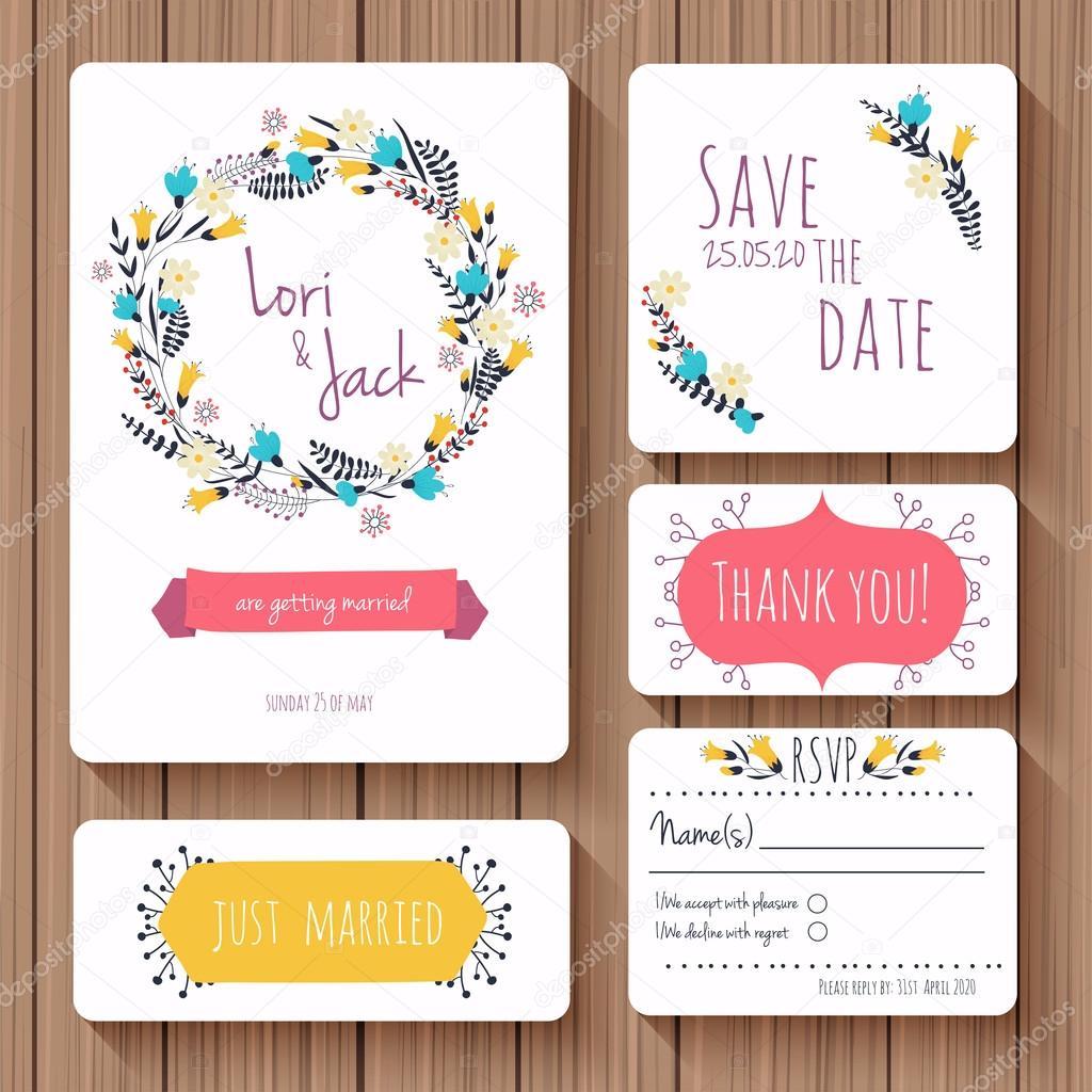 Hochzeit Einladung Karten Set U2014 Stockvektor