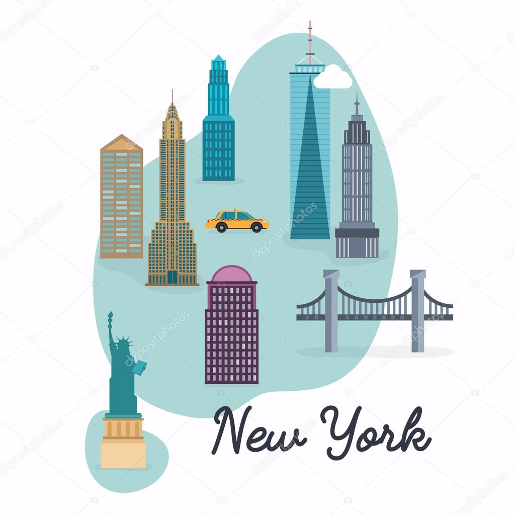 new york city travel map and vector landscape of buildings and famous landmarks vector illustration vector by gapchuk_olesia