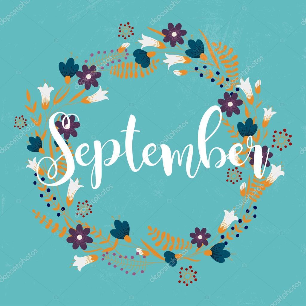 September Karte Mit Kranz Aus Blumen Stockvektor C Gapchuk Olesia
