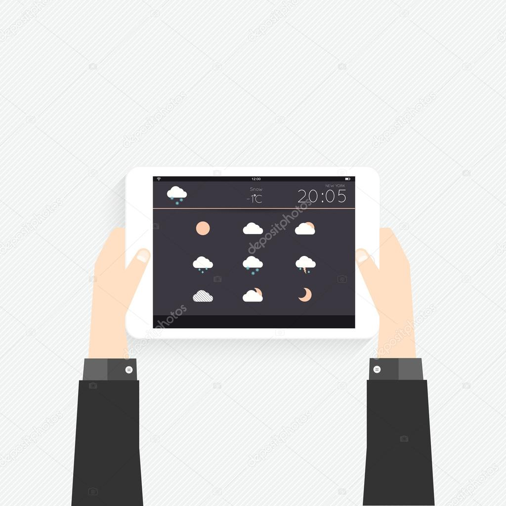 Tablet with graphic in hands