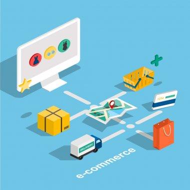 Flat 3d isometric e-commerce concept