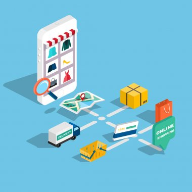 Flat 3d web isometric e-commerce
