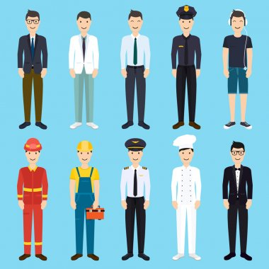 male professions flat style icons
