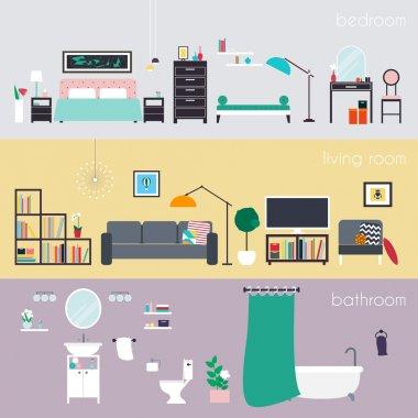 interior design with furniture icons