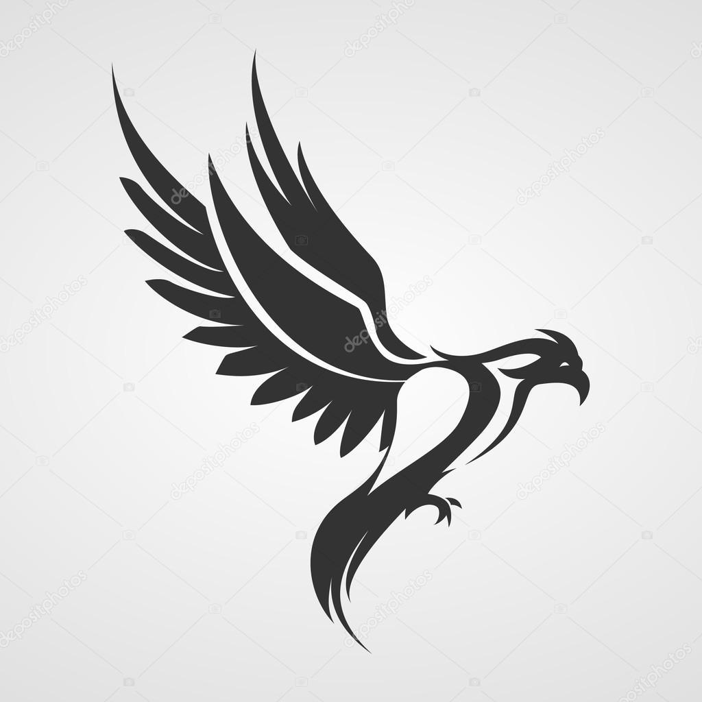 Bien connu de l'oiseau. Aigle, silhouette de phoenix — Image vectorielle  YR22
