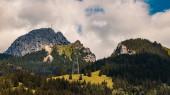 Fotografie Schöner alpiner Sommerblick mit dramatischen Wolken am Wendelstein bei Bayrischzell, Bayern, Deutschland