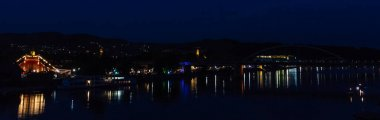 Night shot at Deggendorf Donaufest with reflections - Bavaria -