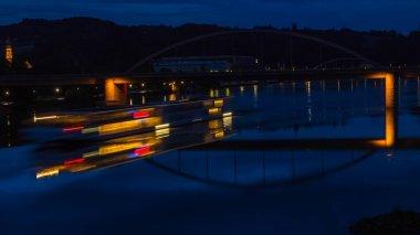 Night shot at Deggendorf with reflections - Bavaria - Germany