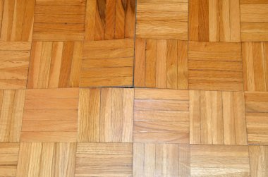 Beginning of destruction on the floor. Parquet starts to lift up under influence of moisture or water. stock vector