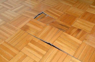 Ruined wooden floor in living room of an apartment stock vector