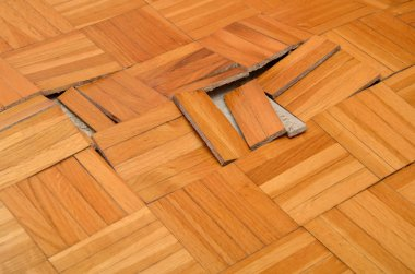 Wooden floor in apartment damaged by destructive elements such as wet, moisture, water. stock vector