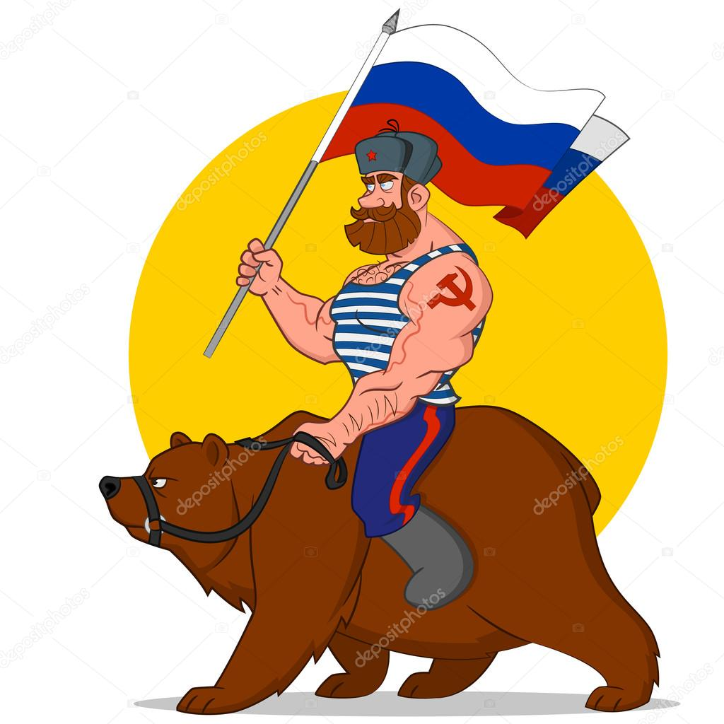 Russian riding a bear