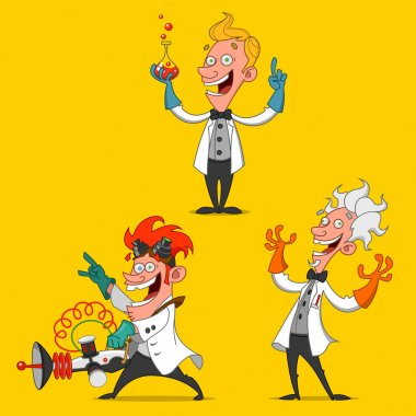 set of cheerful scientists