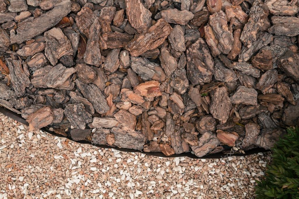 mulch from the bark of pine trees
