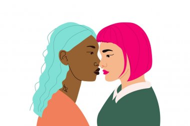 Illustration banner with kissing girls. An abstract tattoo on the neck. Lgbt community for lesbians. Poster with representatives of the lgbt community. Rights for free non-traditional relationships.