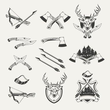 Set of hunt emblems, badges, labels and designed elements