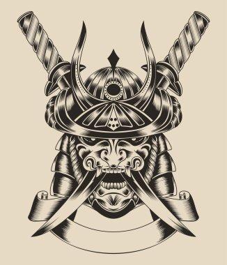 Illustration of mask warrior with swords.
