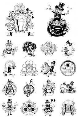 Set of eighteen illustration for St. Patricks Day.