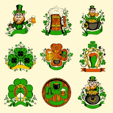 Set of nine pictures for St. Patricks Day.