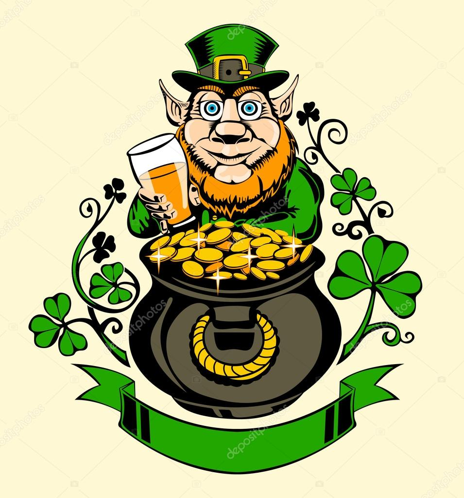leprechaun is standing next to a pot of gold  — stock vector    leprechaun   pot of gold and holding a beer  illustration for st  patricks day — vector by julianna million