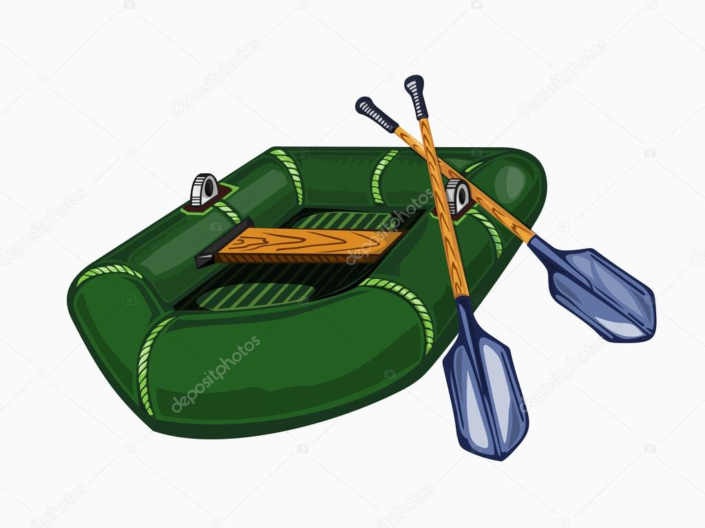 Illustration of green inflatable boat with oars.