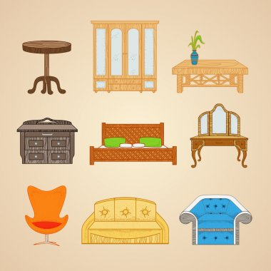 A set of furniture in different styles.